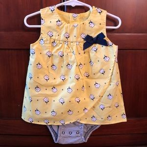 NWT Baby Girl Yellow Dress w/ White Floral Design